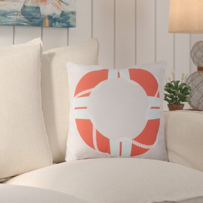 Sweetwood Lovely Life Raft Outdoor Throw Pillow Size: 18 H x 18 W x 4 D, Color: Coral/Sky Blue