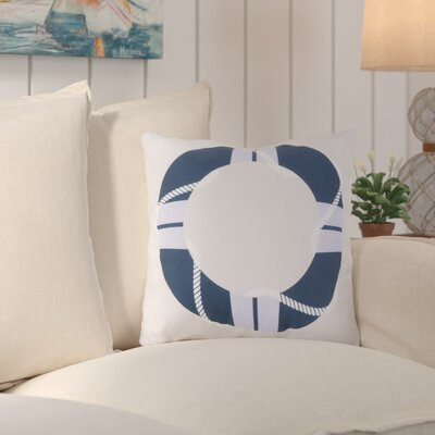 Sweetwood Lovely Life Raft Outdoor Throw Pillow Size: 20 H x 20 W x 4 D, Color: Cobalt/Sky Blue