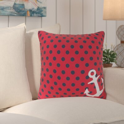 Sweetwood Anchored in Polka Dots Outdoor Throw Pillow Size: 18 H x 18 W x 4 D, Color: Poppy/Navy
