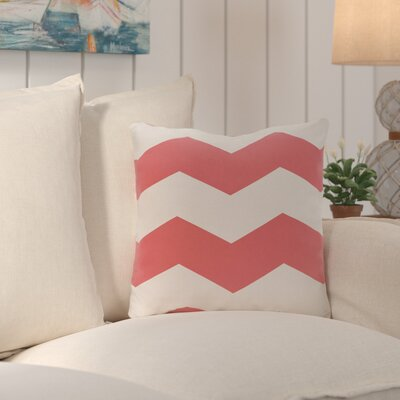 Shrewsbury Chevron Stripes Geometric Outdoor Throw Pillow Size: 20, Color: Coral