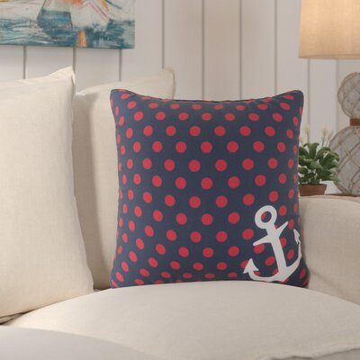 Sweetwood Anchored in Polka Dots Outdoor Throw Pillow Size: 18 H x 18 W x 4 D, Color: Navy/Poppy