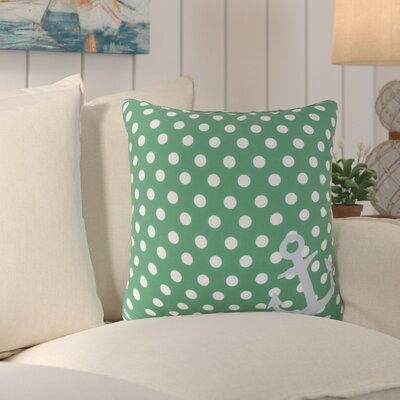 Orchid Anchored in Polka Dots Outdoor Throw Pillow Size: 18 H x 18 W x 4 D, Color: Kelly Green/Ivory