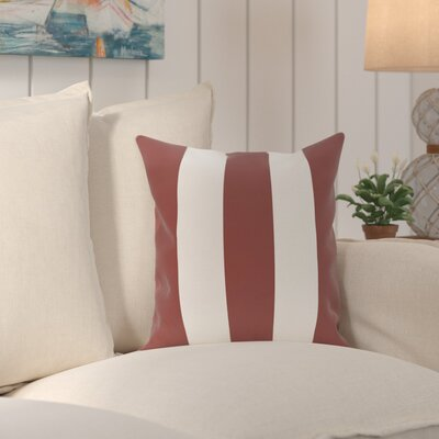 Caymen Stripe Print Throw Pillow Size: 16 H x 16 W x 1 D, Color: Mahogany