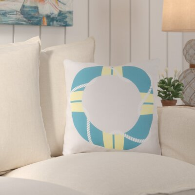 Sweetwood Lovely Life Raft Outdoor Throw Pillow Size: 18 H x 18 W x 4 D, Color: Aqua/Yellow