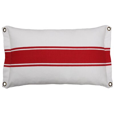 Inshore Grommet And Stripe Cotton Lumbar Pillow Color: Red