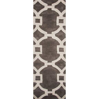Bering Hand-Tufted Dark Gray/Ivory Area Rug Rug Size: Runner 26 x 8