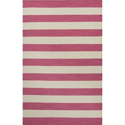 Rosebank Pink & Ivory Stripe Area Rug Rug Size: Rectangle 8 x 10