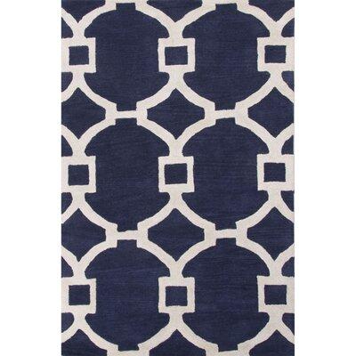 Bering Blue/Ivory Geometric Area Rug Rug Size: 5 x 8
