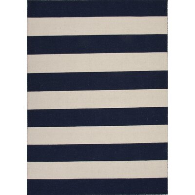 Sandcliff Wool Blue/White Area Rug Rug Size: Rectangle 95 x 135