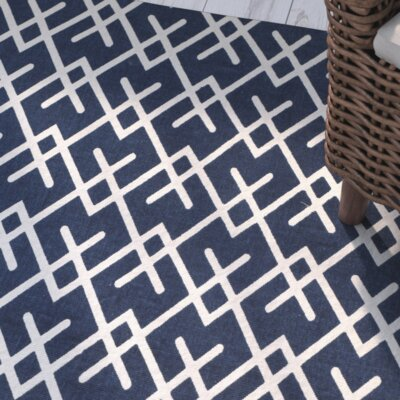 Branford Hand-Loomed Navy/Ivory Indoor/Outdoor Area Rug