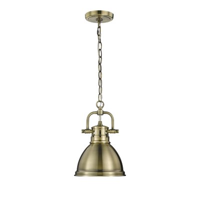 Bodalla 1-Light Bowl Mini Pendant Shade Color: Red, Finish: Aged Brass