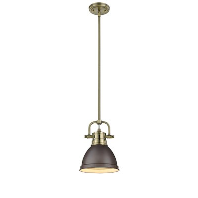 Bowdoinham 1-Light Mini Pendant Shade Color: Seafoam, Finish: Aged Brass