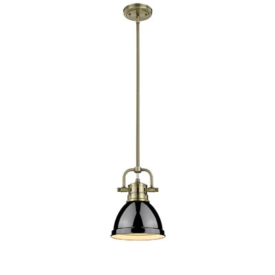 Bodalla 1-Light Bowl Metal Mini Pendant Shade Color: Black, Finish: Aged Brass