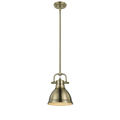 Bodalla 1-Light Bowl Metal Mini Pendant Finish: Aged Brass, Shade Color: Aged Brass