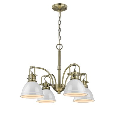 Bowdoinham 4-Light Shaded Chandelier Finish: Aged Brass, Shade Color: White