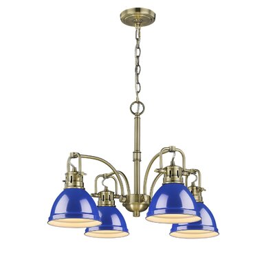 Bodalla 4-Light Shaded Chandelier Finish: Aged Brass, Shade Color: Blue