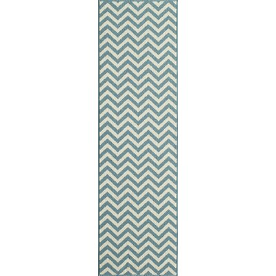 Halliday Blue/Cream Indoor/Outdoor Area Rug Rug Size: Runner 23 x 76