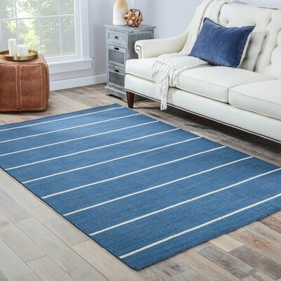 Breakwater Bay Swans Island Dark Denim/Ivory Stripe Area Rug