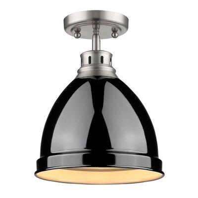 Bowdoinham 1-Light Semi Flush Mount Shade Color: Black, Finish: Pewter