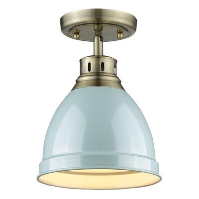 Bowdoinham 1-Light Semi Flush Mount Shade Color: Seafoam, Finish: Aged Brass