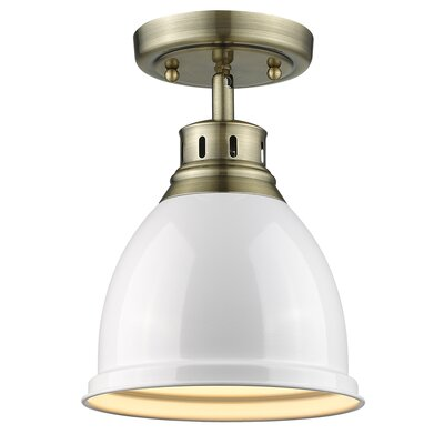 Bowdoinham 1-Light Semi Flush Mount Shade Color: White, Finish: Aged Brass