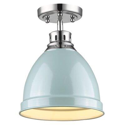 Bowdoinham 1-Light Semi Flush Mount Finish: Chrome, Shade Color: Seafoam