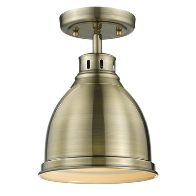 Bodalla 1-Light Semi Flush Mount Shade Color: Blue, Finish: Aged Brass