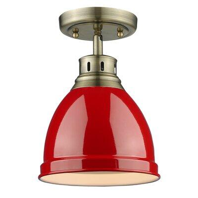 Bowdoinham 1-Light Semi Flush Mount Shade Color: Red, Finish: Aged Brass