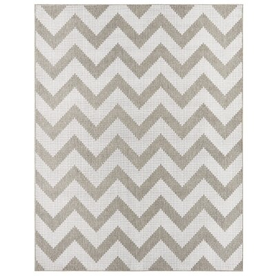 Eisenhower Chevron Gray/Silver Indoor/Outdoor Area Rug Rug Size: 53 x 76
