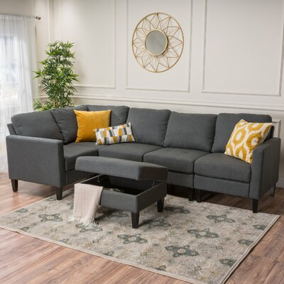 Bayard Reversible Chaise Sectional Upholstery: Dark Gray