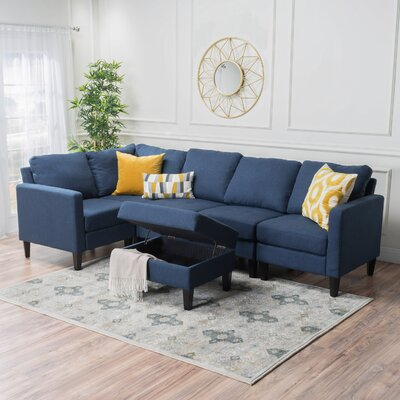 Bayard Reversible Chaise Sectional Upholstery: Dark Blue