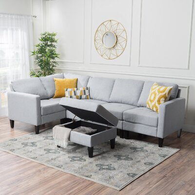 Bayard Reversible Chaise Sectional Upholstery: Light Gray