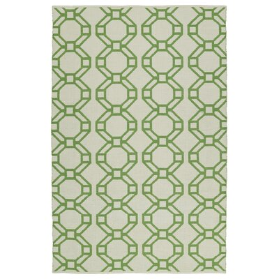Needham Cream/Lime Green Indoor/Outdoor Area Rug Rug Size: Runner 2 x 6