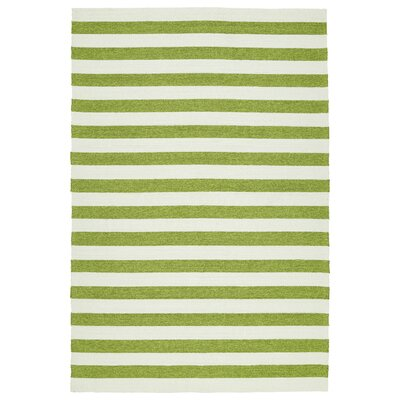 Suffield Green & Cream Indoor/Outdoor Area Rug Rug Size: 5 x 76