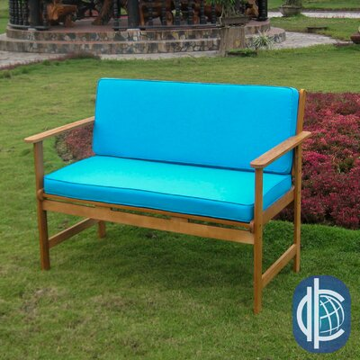 Sabbattus Wood Garden Bench with Cushions Upholstery Color: Aqua