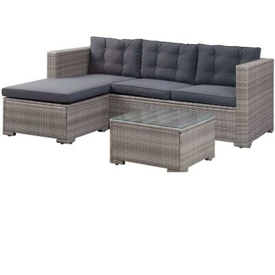 Breakwater Bay Lunenburg Outdoor Poly Rattan Patio 3 Piece Sectional Seating Group with Cushions