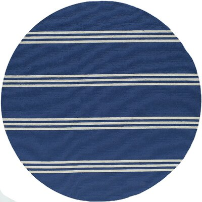 Dreadnought Hand-Hooked Blue Indoor/Outdoor Area Rug Rug Size: Round 9