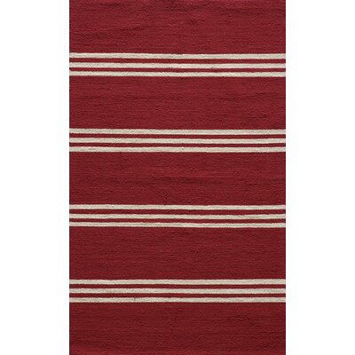 Dreadnought Hand-Hooked Red Indoor/Outdoor Area Rug Rug Size: 39 x 59