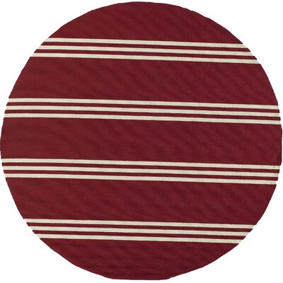 Dreadnought Hand-Hooked Red Area Rug Rug Size: Round 9'