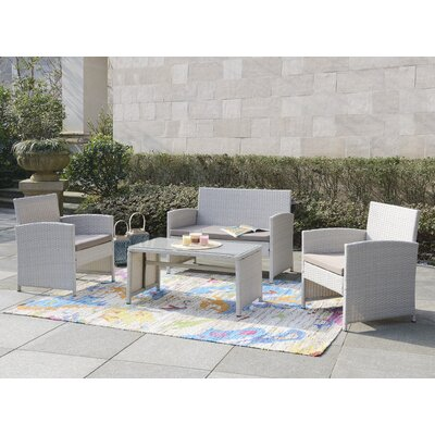 Rietta 4 Piece Deep Seating Group with Cushion Frame Finish: Gray