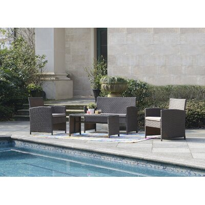 Rietta 4 Piece Deep Seating Group with Cushion Frame Finish: Brown