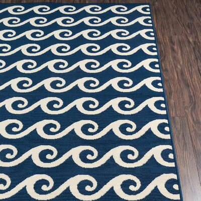 Halliday Navy Indoor/Outdoor Area Rug Rug Size: Rectangle 23 x 46