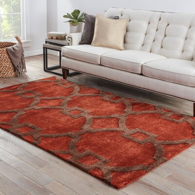 Fiddlewood Hand-Tufted Red Area Rug Rug Size: 5 x 8
