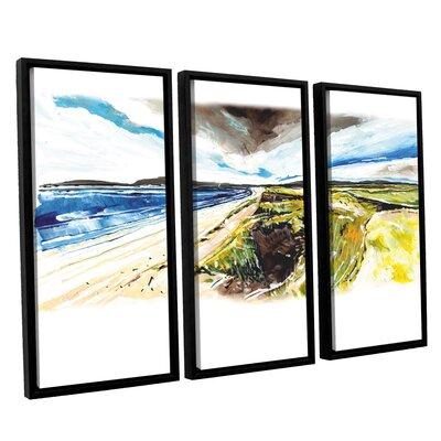 Beach View 3 Piece Framed Painting Print Set