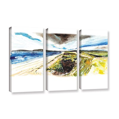 Beach View 3 Piece Painting Print on Wrapped Canvas Set