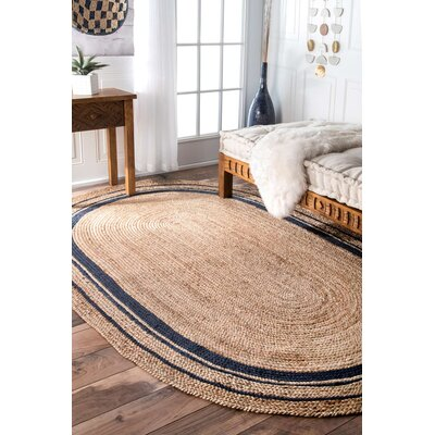 Somers Beige/Denim Area Rug Rug Size: Oval 5' x 8'