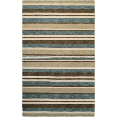 Russell Hand-Knotted Ivory/Teal Area Rug Rug Size: Rectangle 3'5