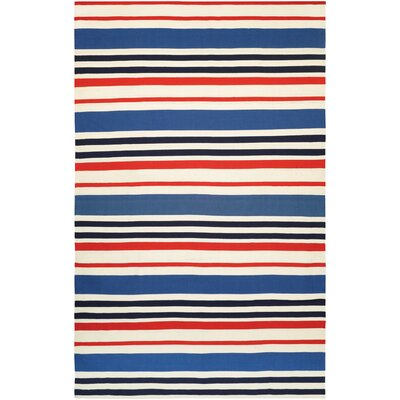 Dewey Hand-Woven Orange/Blue Indoor/Outdoor Area Rug Rug Size: Runner 23 x 8