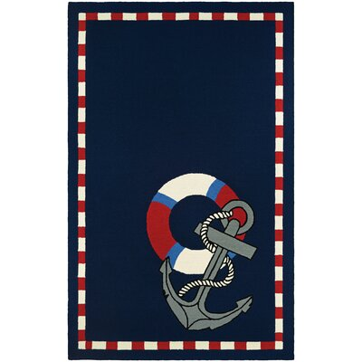 Seaside Anchors Away Hand-Knotted Navy Indoor/Outdoor Area Rug Rug Size: 56 x 8