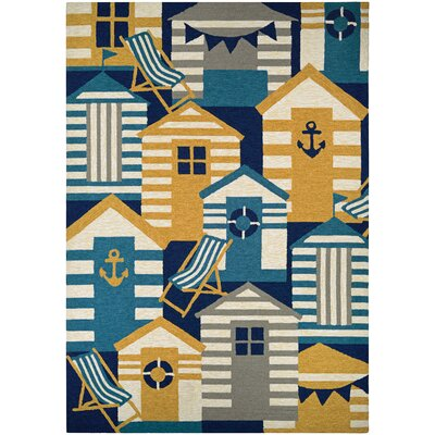 Seaside Beach Hut Blue/Brown Indoor/Outdoor Area Rug Rug Size: 2 x 4